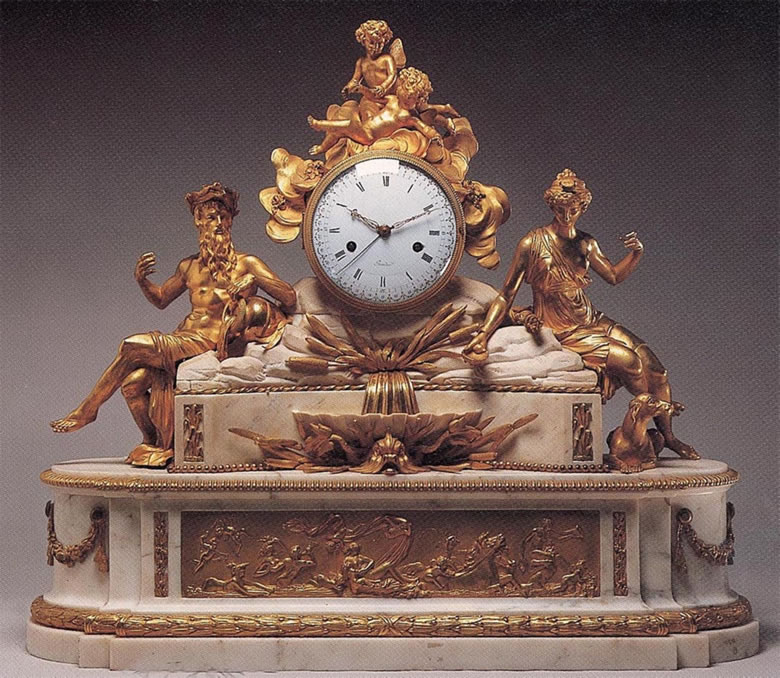 Louis XVI ormoulu and white marblemantel clock inscribed Bourdier
