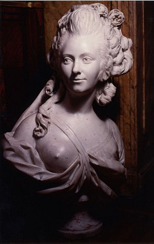 18th Century marble bust of an actress or dancer attributed to J.B. Lemoyne
