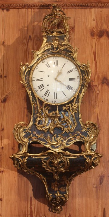 Louis XV  lacquer and ormoulu musical cartel clock