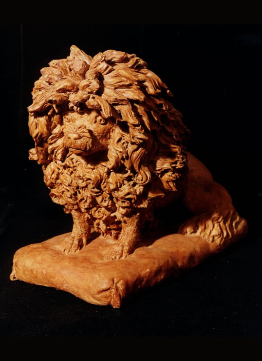 18th century terra cotta sculpture of a poodle attributed to the sculptor Anne Damer