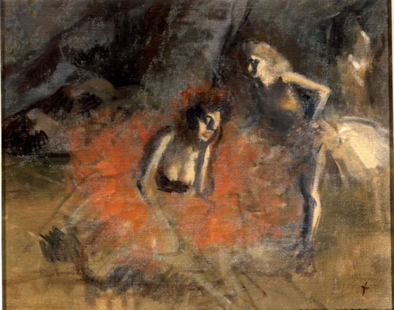 Painting by Forain depicting two exhausted ballerinas