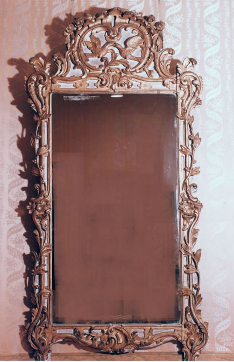 Louis XV gilded and painted mirror