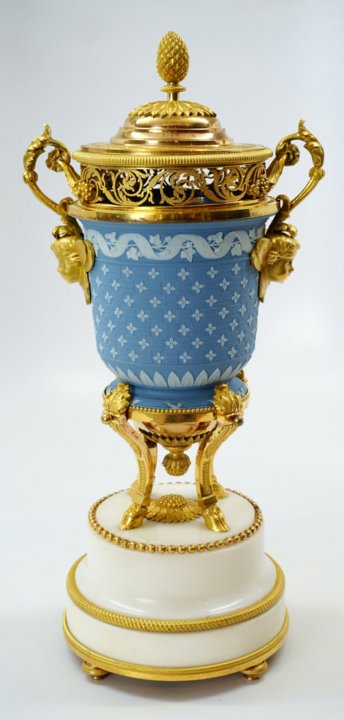 Rare Wedgwood vase mounted in two-color Louis XVI ormolu