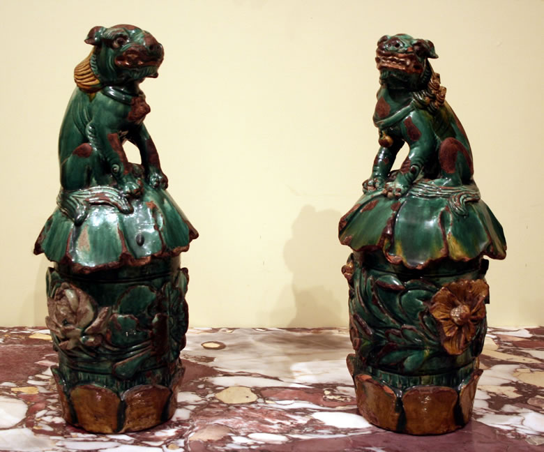 Pair Chinese pottery Foo Dogs