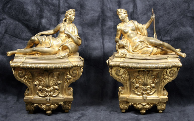 Pair Louis XIV ormoulu chenets depicting river goddesses