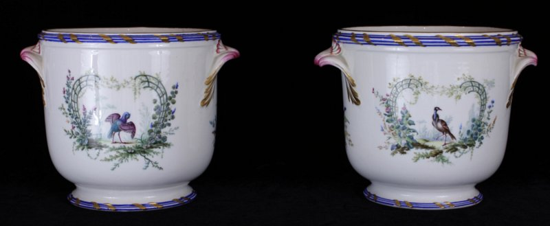 Superbly painted pair of Vincennes  seaux