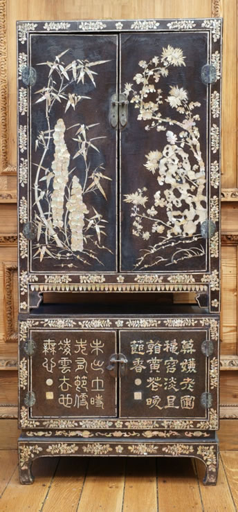 Pair Ming Dynasty mother-of-pearl compound cabinets