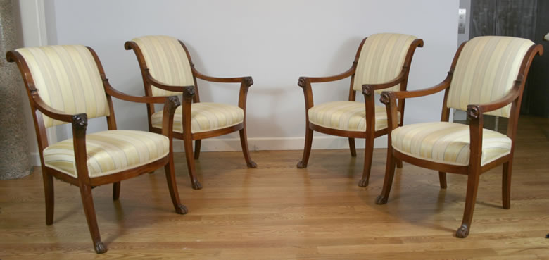 Set of four Empire mahogany fauteuils