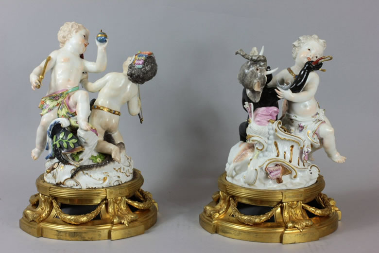 Meissen groups of the Four Continents on Louis XVI ormoulu