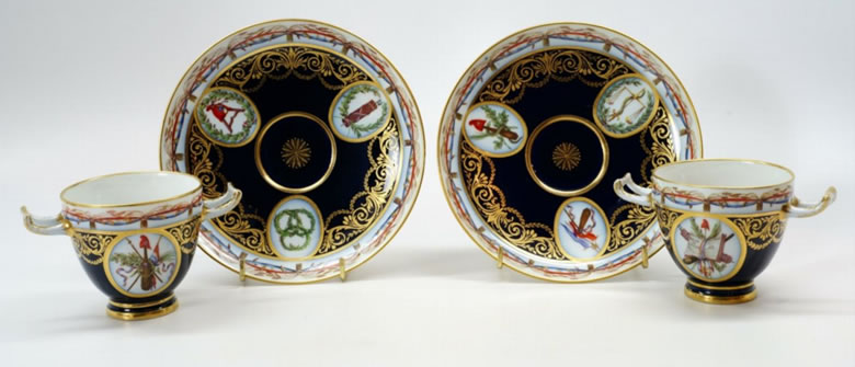 Pair revolutionary Sevres cups and saucers.