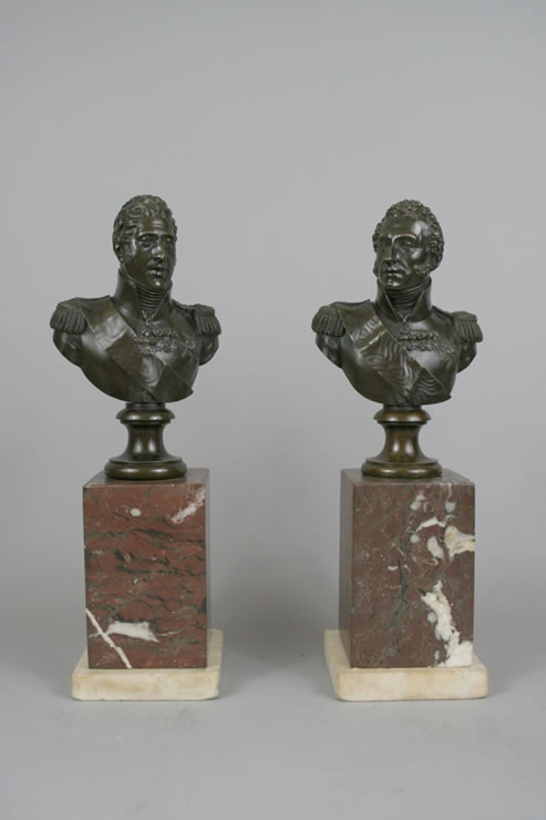 Pair bronze bust of Charles X and Louis Antoine