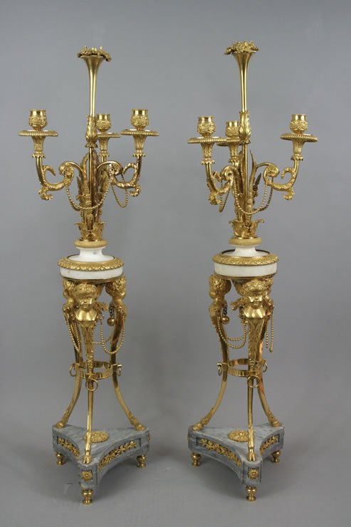 Pair Louis XVI ormolu and marble candelabra