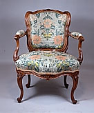 Superb Louis XV carved Walnut Fauteuil signed BOUCAULT