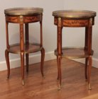 Pair of oval transitional marquetry tables signed Topino
