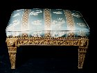 Italian neoclassical carved and gilded footstool
