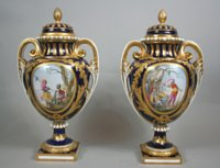 Pair Sèvres vases ovoides with historical military scenes