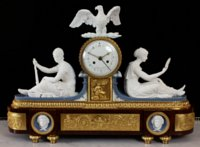 Superb Dihl et Guerhard porcelain, ormoulu and acajou mantel clock
