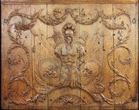 Neoclassical oak boiserie panel with military trophy