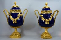 Pair Sèvres beau bleu pot pourris in early Louis XVI mounts