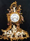 Louis XV ormoulu, Meissen porcelain and Vincennes porcelain clock  with movement by Causard